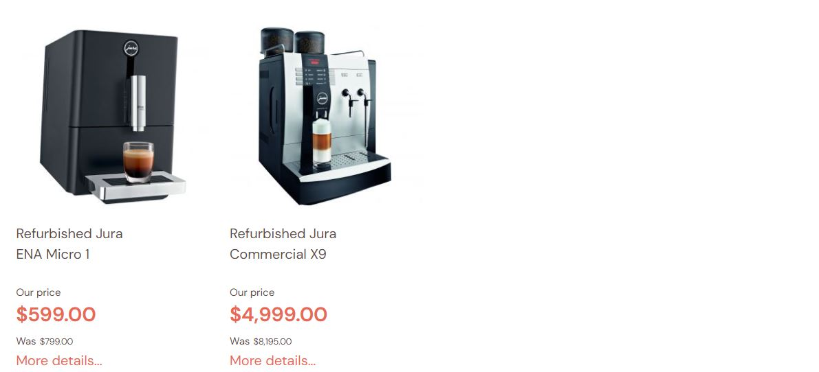Refurbished Jura Coffee Machines Sales 2021
